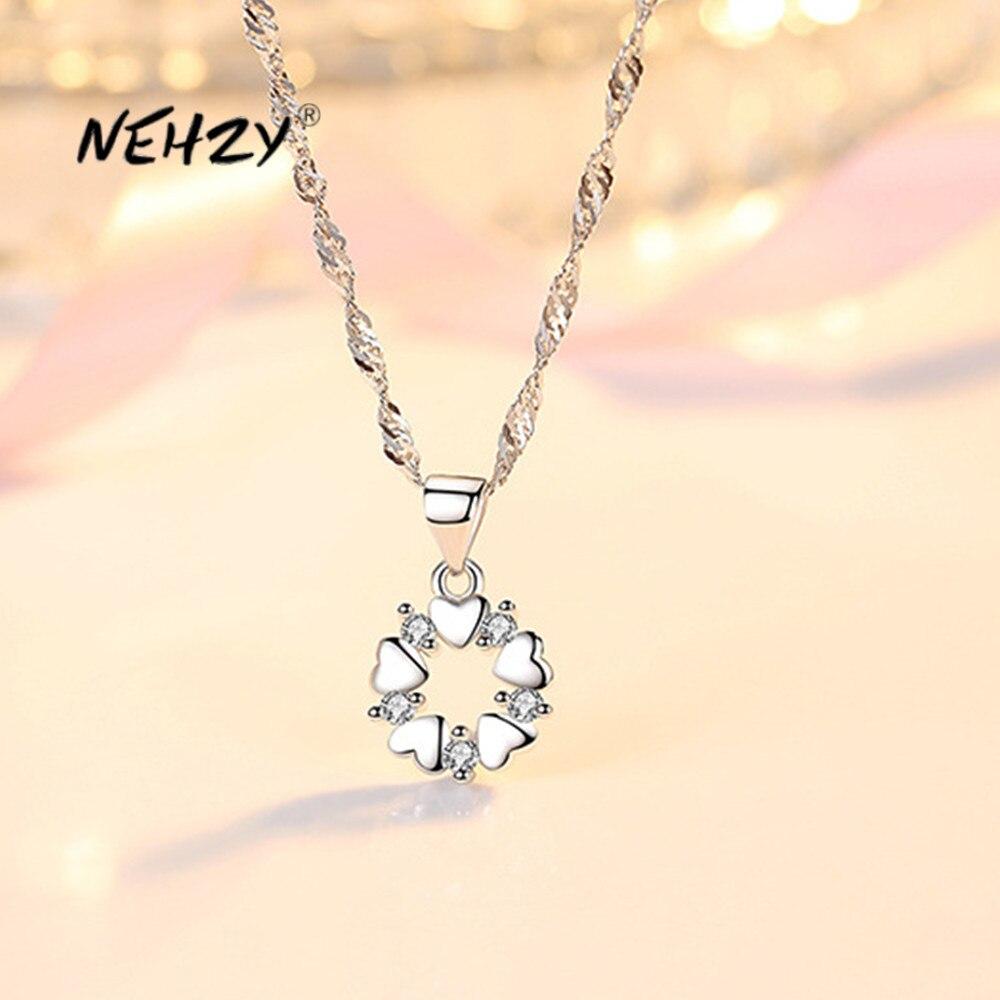NEHZY argento Sterling 925 nuova donna gioielli di moda collana di alta qualità a forma di cuore con pendente in zircone di cristallo cavo lunghezza 45CM