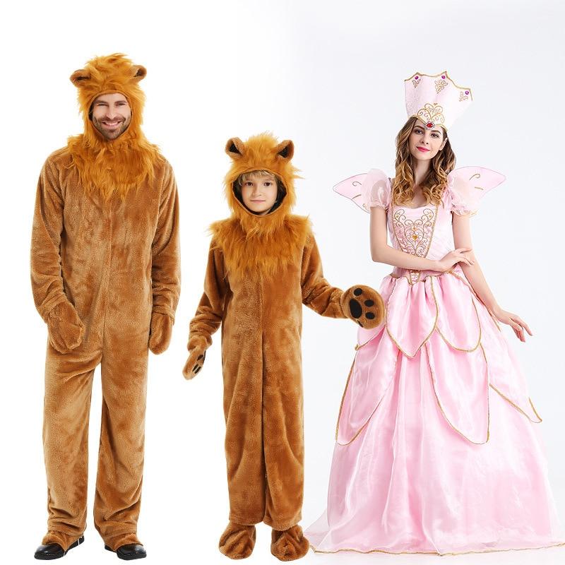 Çocuk erkek man Lion kostüm çocuklar yetişkin hayvan kostümleri cadılar bayramı Cosplay giysileri fantezi sihirbazı film rol tulum