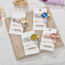 3Pcs/Lot Women Rhinestone Hairpins Metal Hairclip Girls Colorful Beads Geometric Round Hair Accessories Barrettes