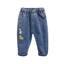 Listowe spodnie jeansowe dla chłopców modne ubrania dla dzieci jednolite jeansy spodnie dla nastolatek spodnie jeansowe długie dżinsy spodnie dla chłopców tanie tanio Ms Qiman Na co dzień Pasuje prawda na wymiar weź swój normalny rozmiar jeans pants for boys Elastyczny pas Chłopcy