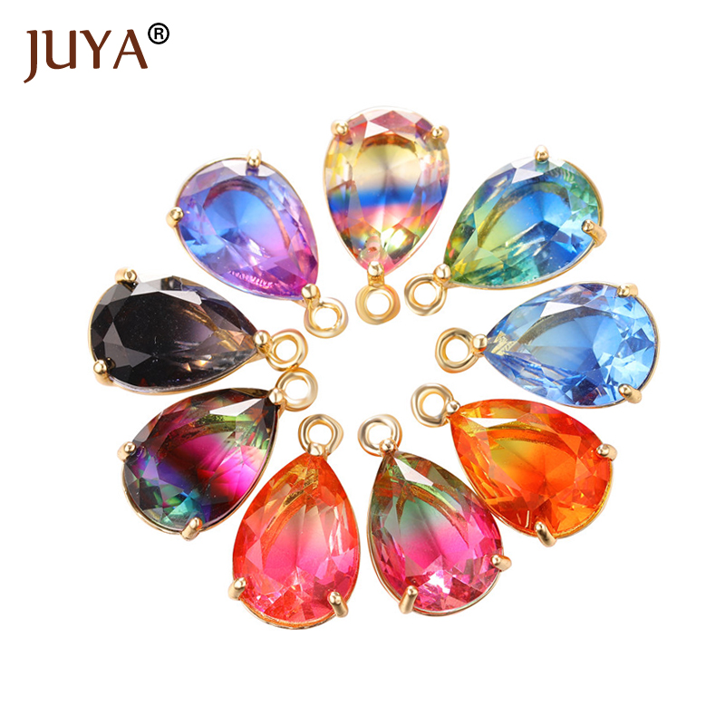 4pcs/Lot Shining Glass Charms Water Drop Pendants For DIY Earrings Findings Necklace Jewelry Accessories Materials