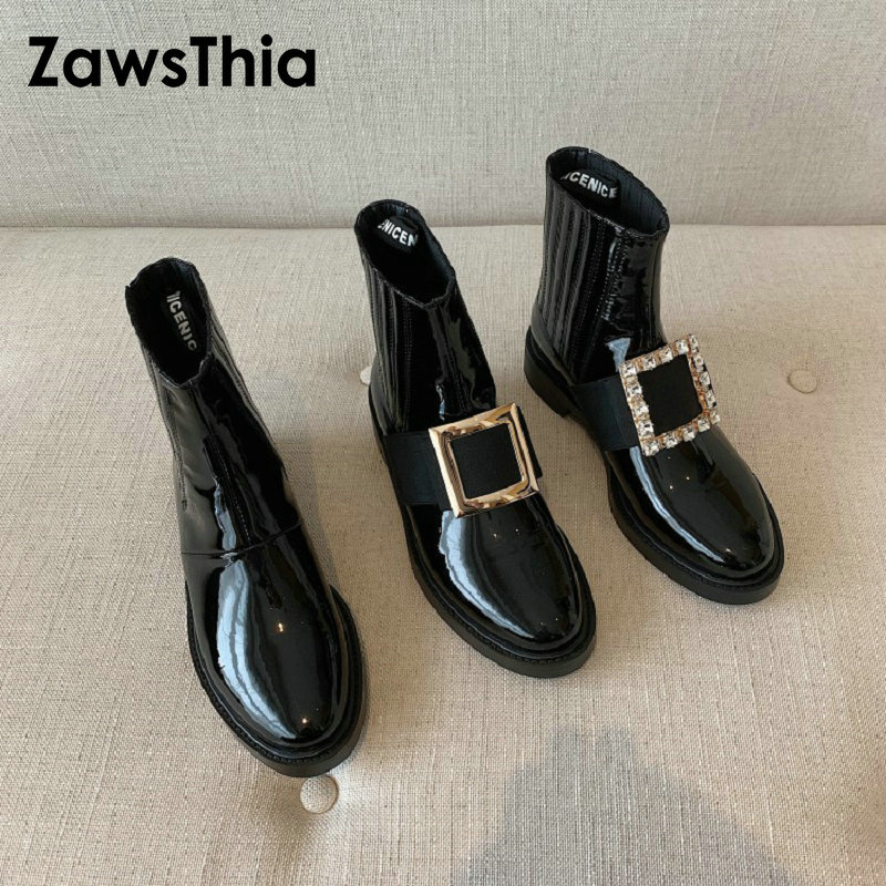 ZawsThia 2020 high quality luxury brand patent leather woman ankle boots western cowgirl cowboy martin boots with metal buckle