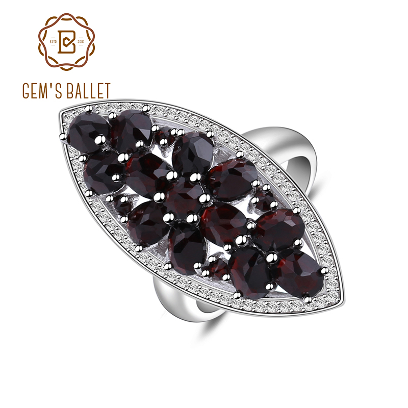 Gem's Ballet 925 Sterling Silver Wedding Band Ring Fine Jewelry 5.71Ct Natural Black Garnet Gemstone Engagment Ring For Women