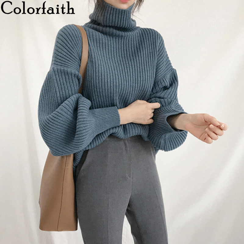 Colorfaith Women Pullovers Sweater New 2019 Knitted Autumn Winter Thick Warm Turtleneck Lantern Sleeve Casual  Loose Tops SW8009
