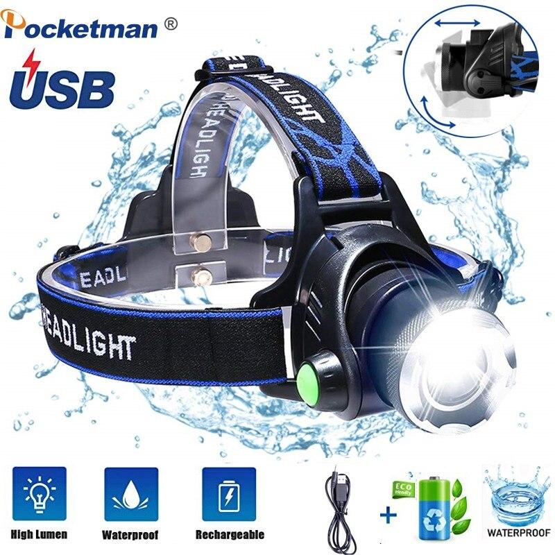 Proiettori a Led 6000lumen T6 L2Headlight Impermeabile Zoomable Lanterna 3 Modalità Testa Della Torcia da 18650 migliore per il campeggio di pesca