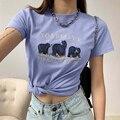 Блузка y2k в стиле ретро с изысканной вышивкой и коротким рукавом, футболка с изображением маленького медведя, милая Свободная Женская блузк...