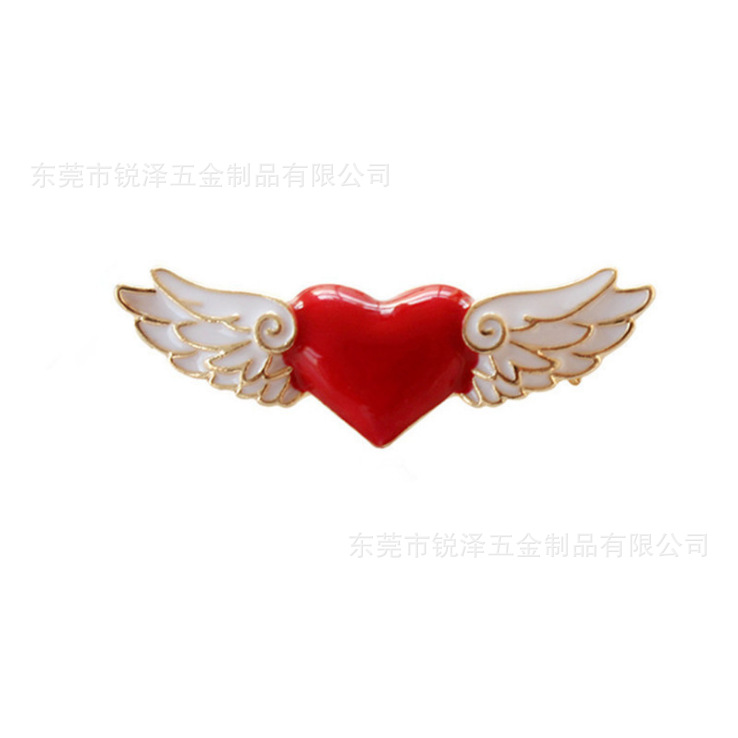 Manufacturers Production Japanese And Korean Style Fashion Mocha GIRL'S Series Red Angel Wings Brooch Collar Pin