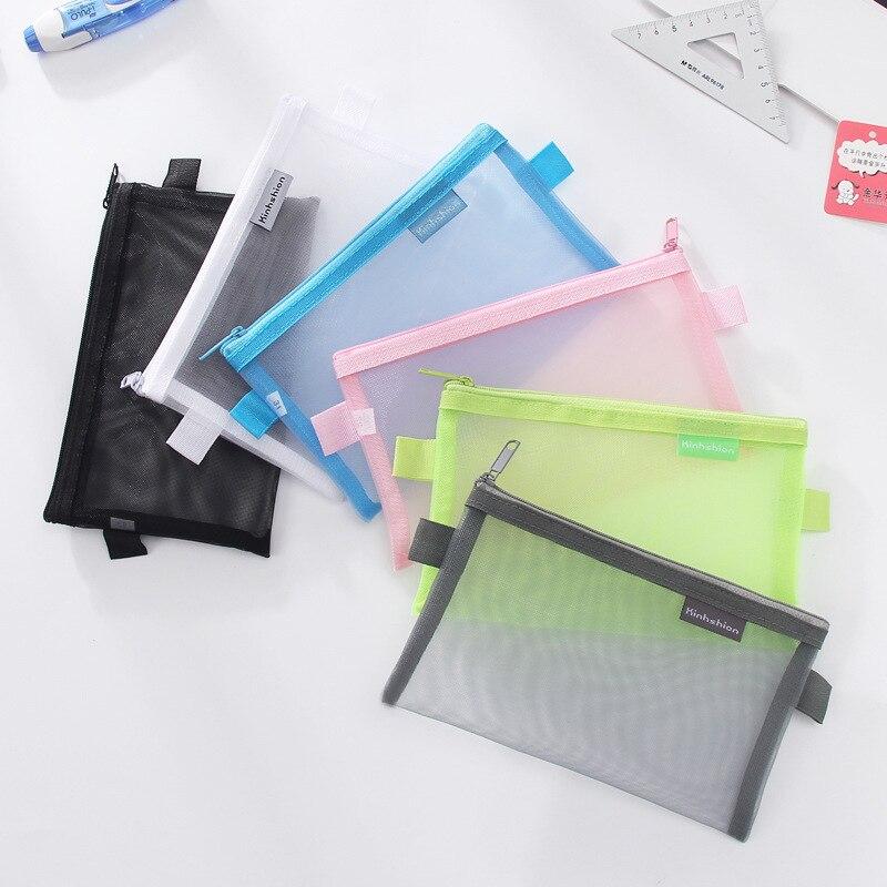Simple Transparent Mesh Pencil Case Office Student Pencil Cases Nylon School Supplies Pen Box