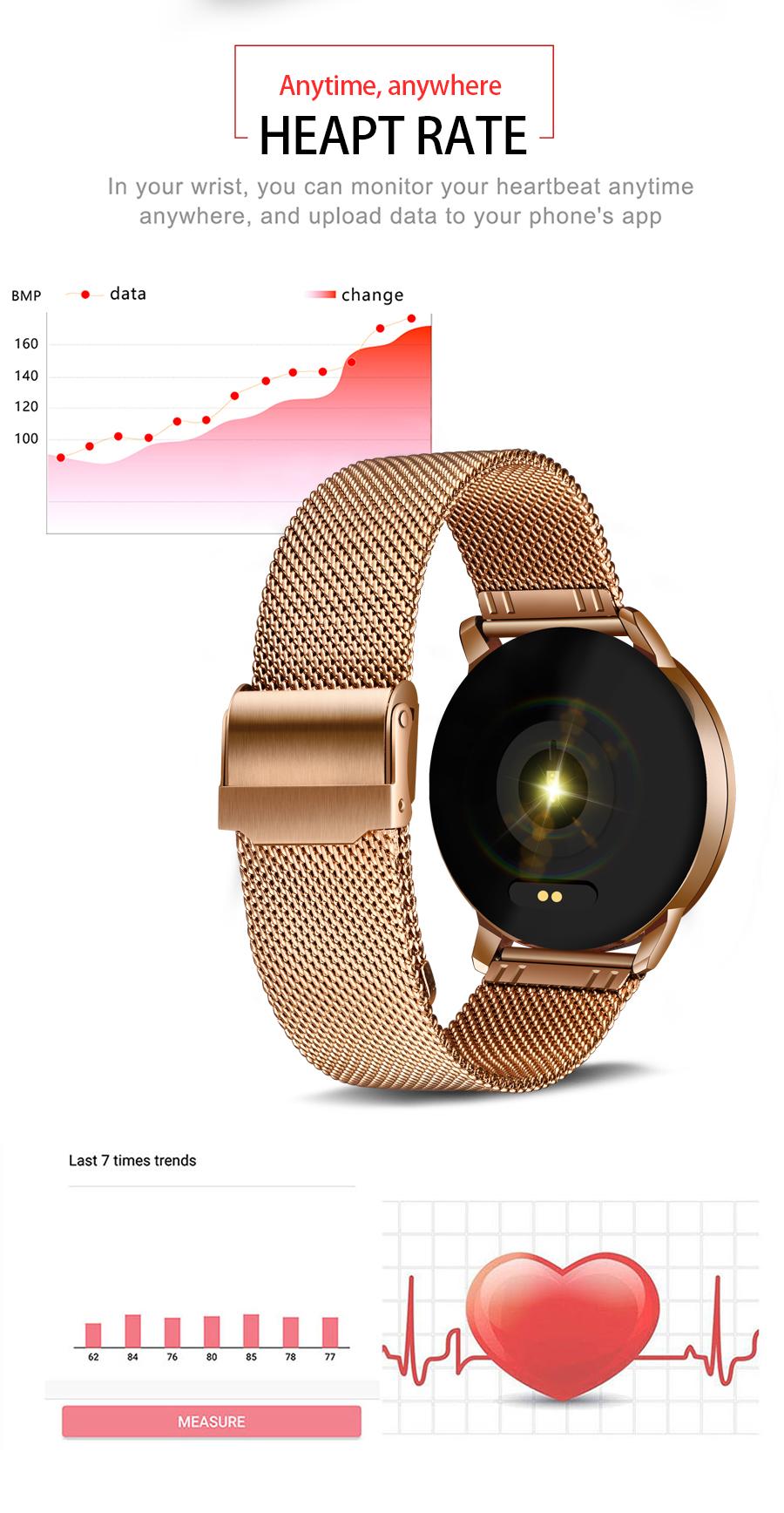 Reloj inteligente LIGE para mujer con monitor, seguidor Fitness de frecuencia cardíaca y presión arterial 2