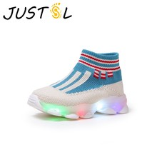 JUSTSL Kids Socks glowing Sneakers Boys Girls LED Lights Fly Weav Breathable Children's Fashin Running Shoes(China)