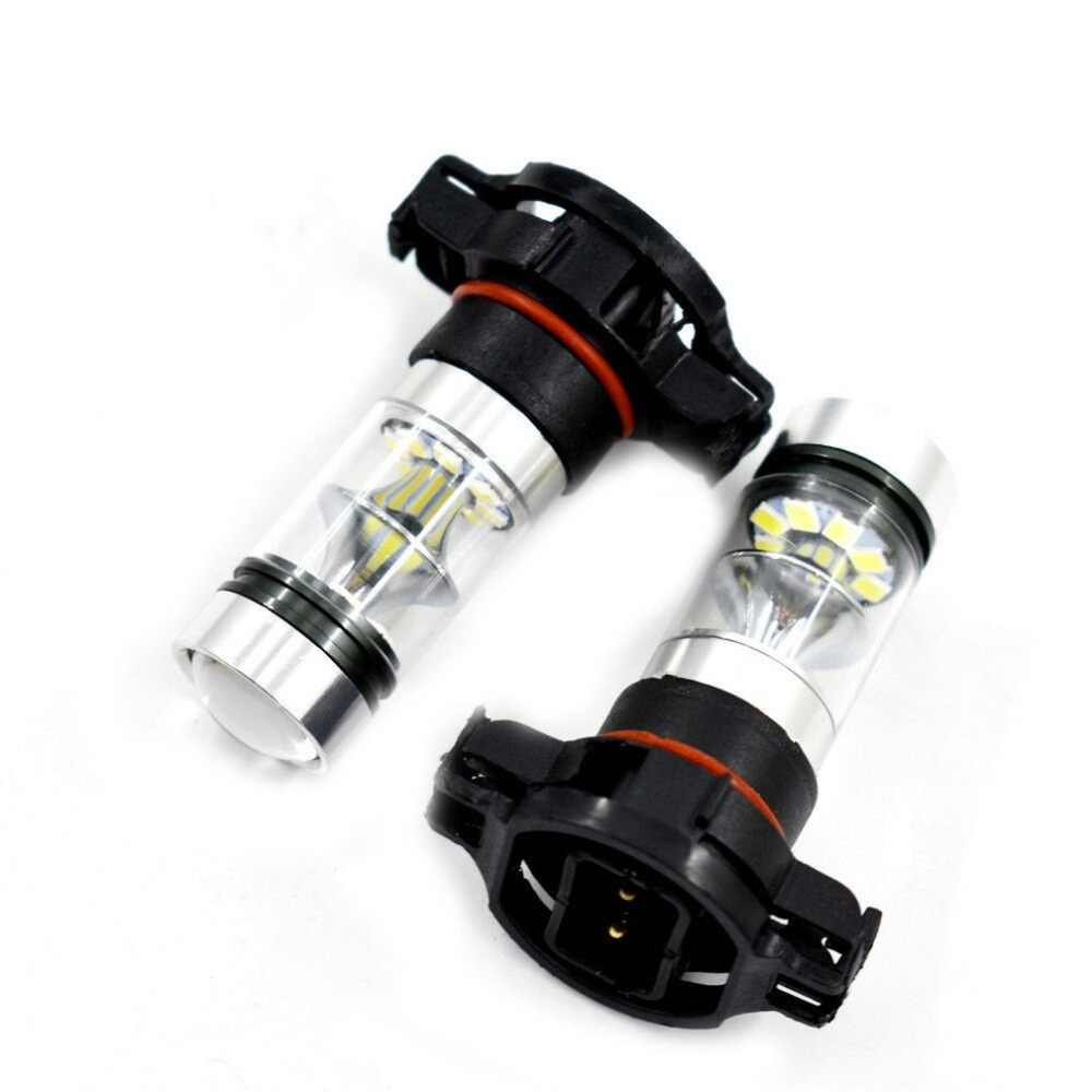 2X 5202 H16 PS24W CREE High Power 100W 6000K Super White LED Fog DRL Light Bulbs