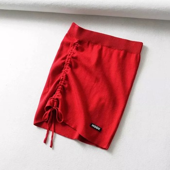 High Waist Stretch Side Drawstring Skirt Slim Fit Hip Knit Short Skirt Sexy Versatile Fashion Mini Skirt Black White Y2k Clothes - Red, L