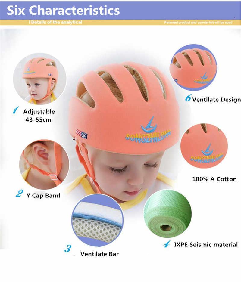 Bayi Balita Anti-Fall Pelindung Kepala Helm 100% Katun Bayi Bernapas Helm Safety Topi Topi Pelindung Capacete Infantil