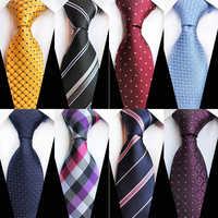Casamento de negócios masculino 8cm gravata de seda prateado bule polka dot pescoço laços moda jacquard xadrez formal gravatas presente gravata