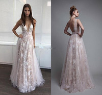 Charming V Neck Prom Gown Lace Tulle Sweep Train Women Sexy Evening Dresses ever pretty