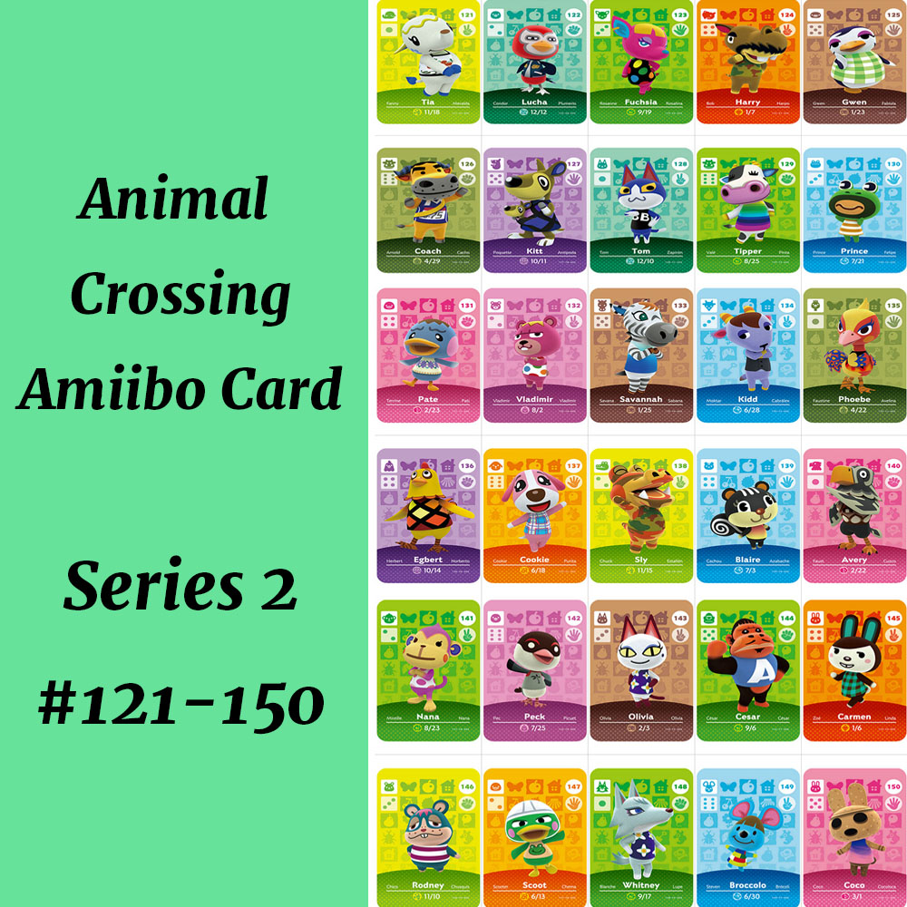 Animal Crossing Amiibo Card Series 2  (121 To 150) NS Amiibo Card Animal Crossing Card Amiibo Work For NS Game Whitney Coco Tia