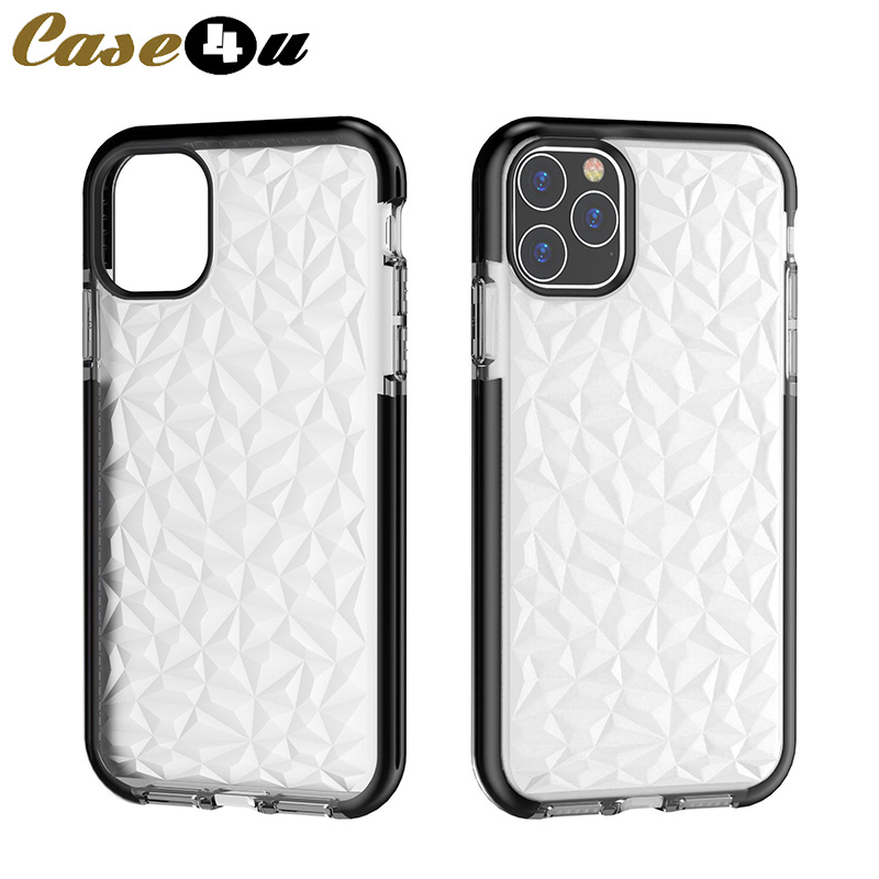High Quality Silicone Rubber Diamond Case For iPhone 11 Pro Max X XR XS Max 8 7 6s Plus 8Plus 7Plus Shockproof Clear Cover funda(China)