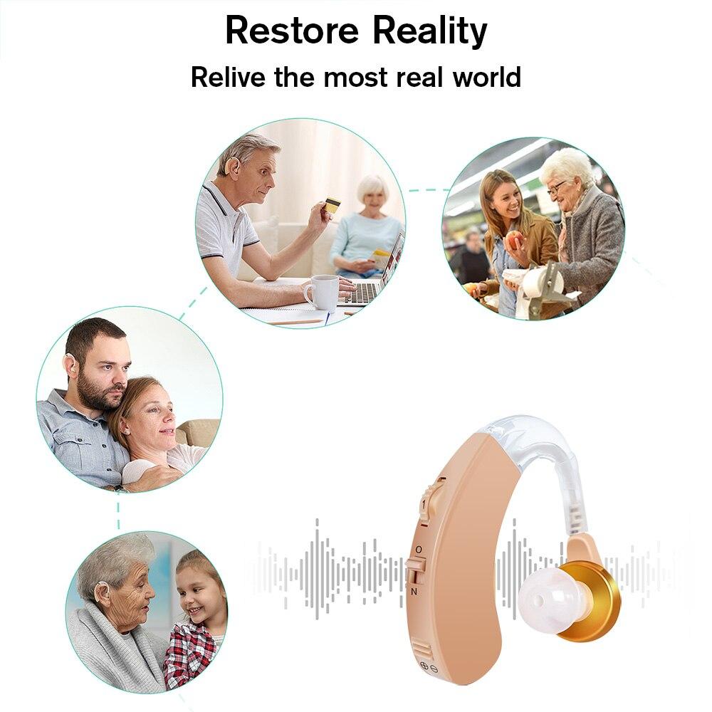 Amplificador de som auditivo, para aparelhos auditivos, aparelho auditivo, amplificador de som por voz, atrás da orelha ajustável 3