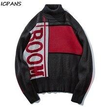 ICPANS Mens Pullover Turtleneck Unisex Patchwork Sweaters Oversize Knitwear 2019 Harajuku Hip Hop Pullovers Streetwear