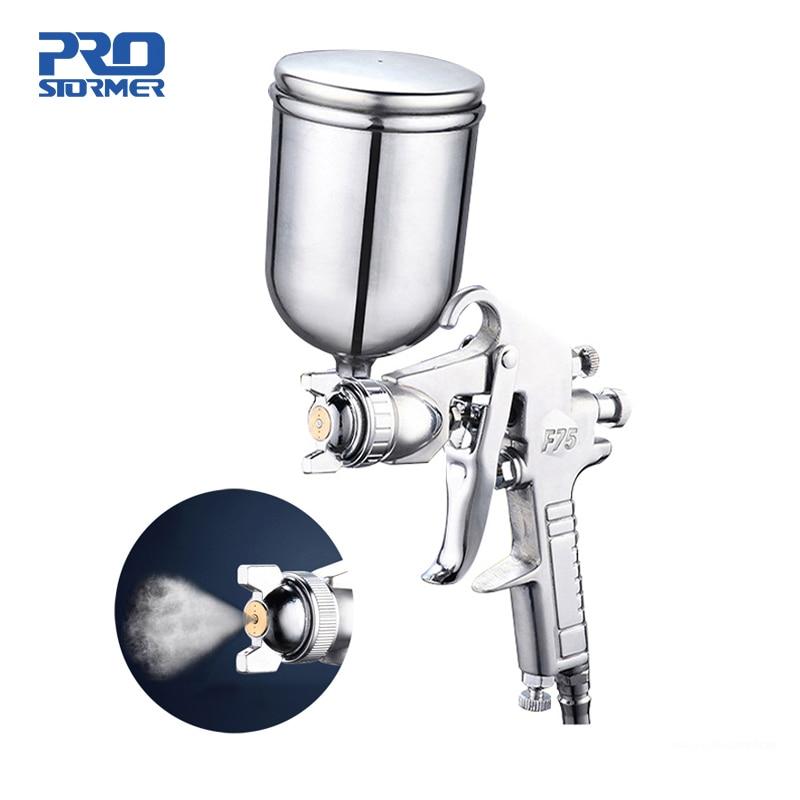 Aletler'ten Sprey Tabancaları'de 400ML püskürtme tabancası profesyonel pnömatik Airbrush püskürtücü alaşım boyama Atomizer aracı hazne ile boyama için otomobiller PROSTORMER title=