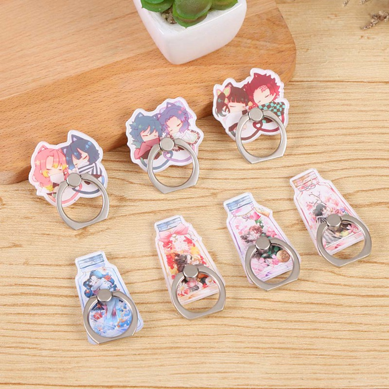 Acrylic Anime Demon Slayer Kimetsu No Yaiba Kamado Tanjirou Cosplay Prop Couple Mobile Phone Finger Ring Holder Stand