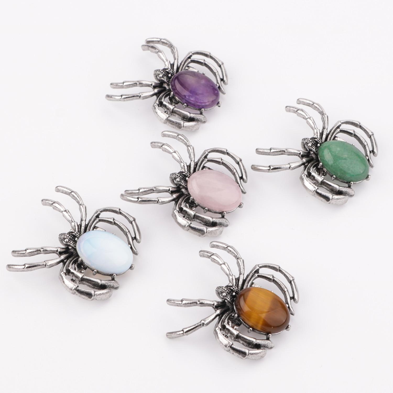 Fashion Spider Pendant Necklace Healing Crystal Pendant Balance Chakra Stone Meditation Stone Women's Spider Brooch Double Penda