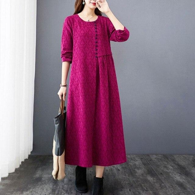 Women Autumn Cotton Linen Long Dress New Arrival 2020 Vintage Style O-neck Loose Comfortable Ladies Elegant A-line Dresses S1841 2