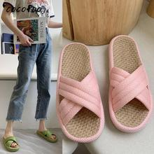 Linen Slippers Female Summer Indoor Home Breathable Deodorant Thick Bottom Non-slip Couple Mute Floor Home Sandals And Slippers 10 pairs lot japanese linen ladlies slippers heavy bottomed non slip indoor wooden floor