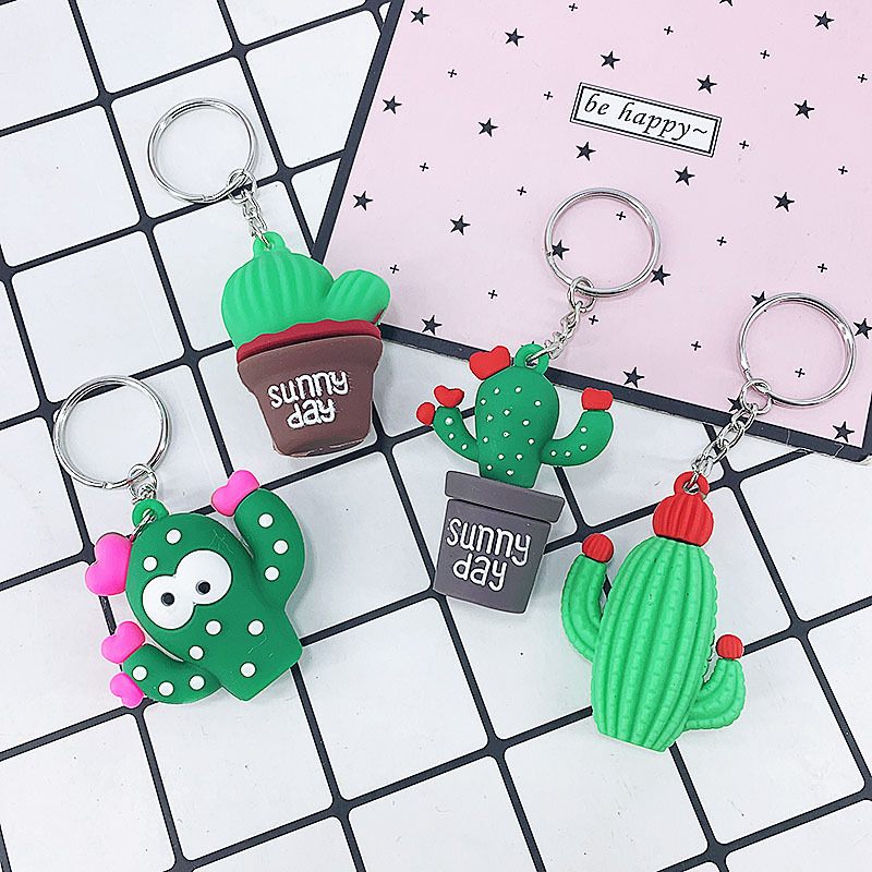 PVC Soft Glue Cactus Keychains For Women Men Home Keychain Car Key Ring Bag Wallet Pendant 2020 New Year Gifts Fashion Jewelry
