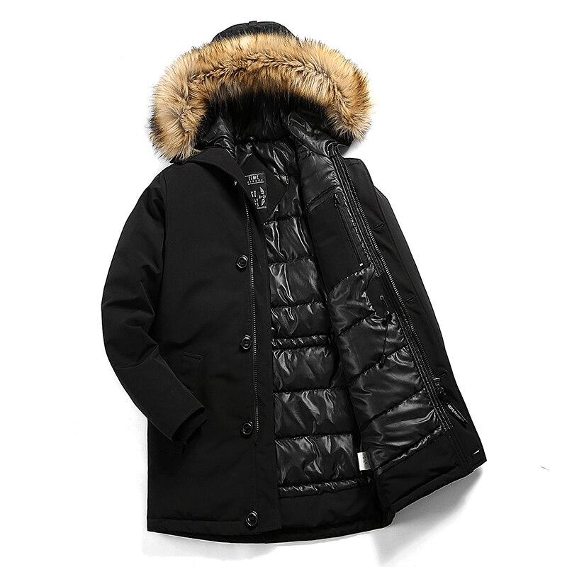 New 2019 Men Brand Winter Faux Fur Collar Long Thick Cotton Parkas Jacket Coat Men Hooded Pockets Outwear Waterproof -30*