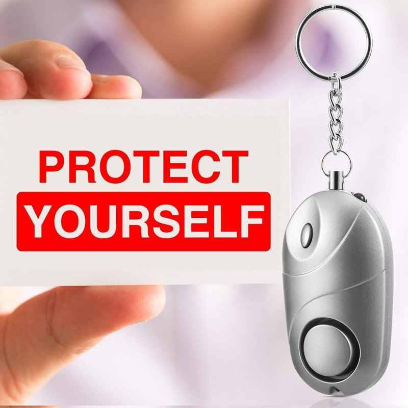 5 Pack Aman Suara Alarm Pribadi, 130 DB Keselamatan Darurat Kunci Rantai self-Pertahanan Keamanan Aman Suara Alarm Senter LED Mini