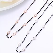 Stainless Steel Black Crystal Beads Chain Necklace For Women Silver Color Boho Necklace Party Gift Female Jewelry 2019 Wholesale