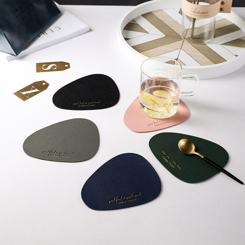 5 Color 8PCS Cup Mat Set Tableware Pad Placemat PU Leather Table Mat Heat Insulation Non-Slip Placemats Bowl Coaster Kitchen