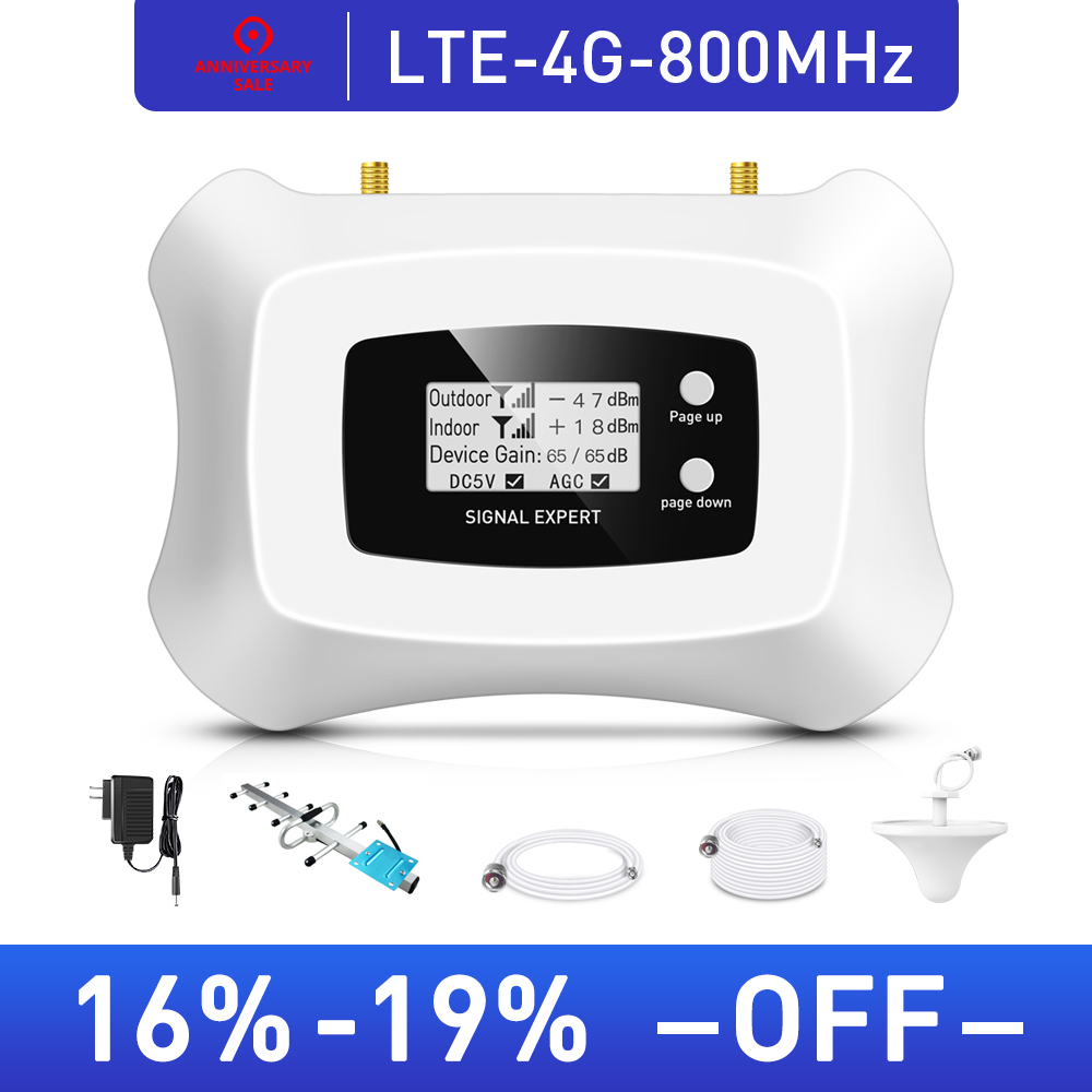 Hot! 4G LTE 800MHz Mobile Signal Booster 4g Cell Phone Amplifier 4G Cellular Signal Repeater With Yagi + Ceiling Antenna Kit
