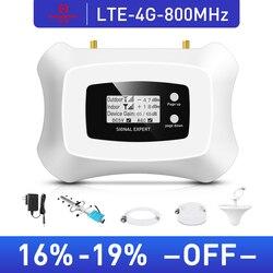 Hot! 4g lte 800 mhz móvel amplificador de sinal 4g celular 4g repetidor de sinal celular com yagi + kit antena teto
