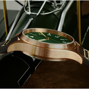 Image 5 - San Martin Men Bronze Mechanical Pilot Watches Luminous dial Scale 200m Waterproof Sapphire Glass Leather Strap Male Wrist watch