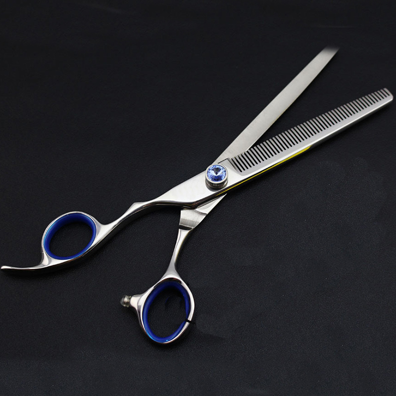 Links Hand Professionelle Japan 440C Edelstahl 7 zoll Gerade Gebogen Ausdünnung Scissor Set Barber Liefern Haar Cut Hairdresing - 6