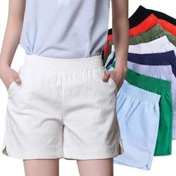 Plus Size 4XL New Summer Women Cotton Linen Shorts Elastic High Waist Candy Color Wide Leg Shorts