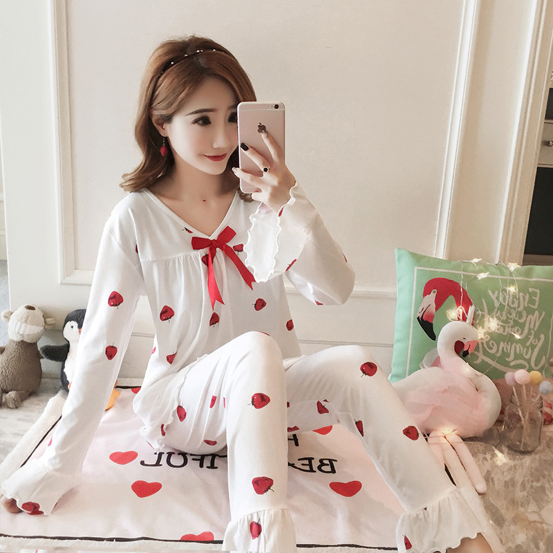 Autumn Women Cotton Pajamas Sets 2 Pcs Cartoon Printing Pijama Pyjamas Long Sleeve Bowknot Pyjama Sleepwear Sleep Set 44