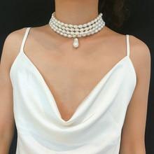 Korean Statement Temperament Imitation Pearl Necklace For Women Fashion Simple Round Short Layered Necklace 2020 stylish layered round pendant necklace for women
