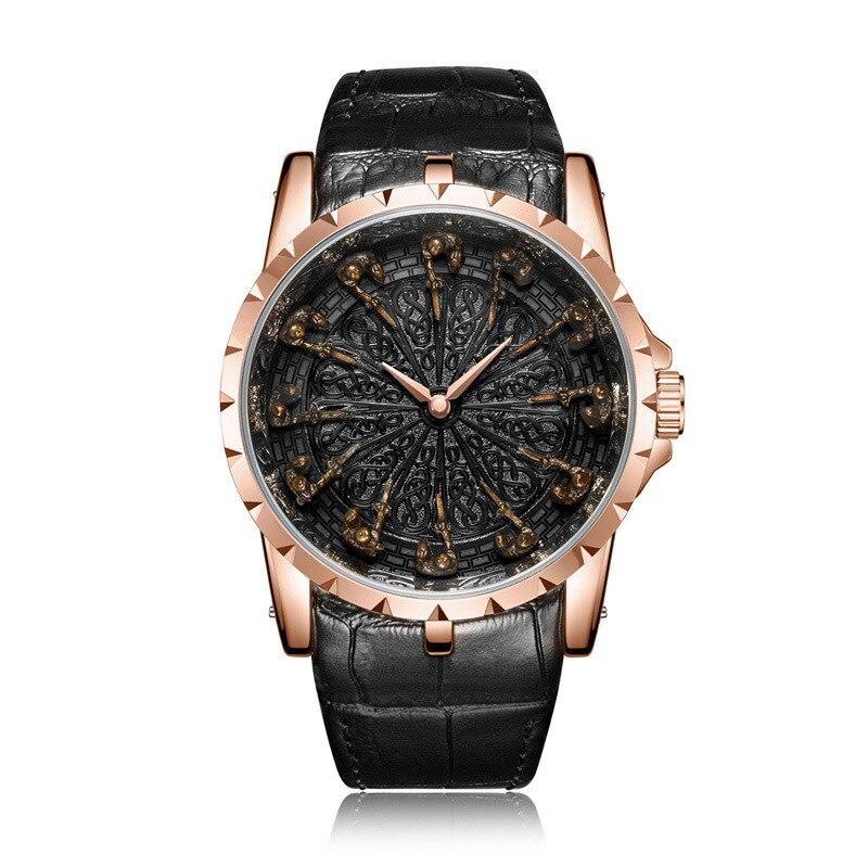 Nouvelle montre à quartz d'affaires pour hommes chevaliers Unique en trois dimensions forme cadeau de noël cadeau d'anniversaire - 6