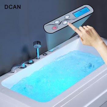 DCAN LED wanna z prysznicem kolor wanna z hydromasażem akrylowa masaż surfingowy kwadratowa wanna wolnostojący tanie i dobre opinie Wolnostojące Akrylowe W zestawie DCAN-YG6621 Reversible Ociekaczem 1 5 m WHITE