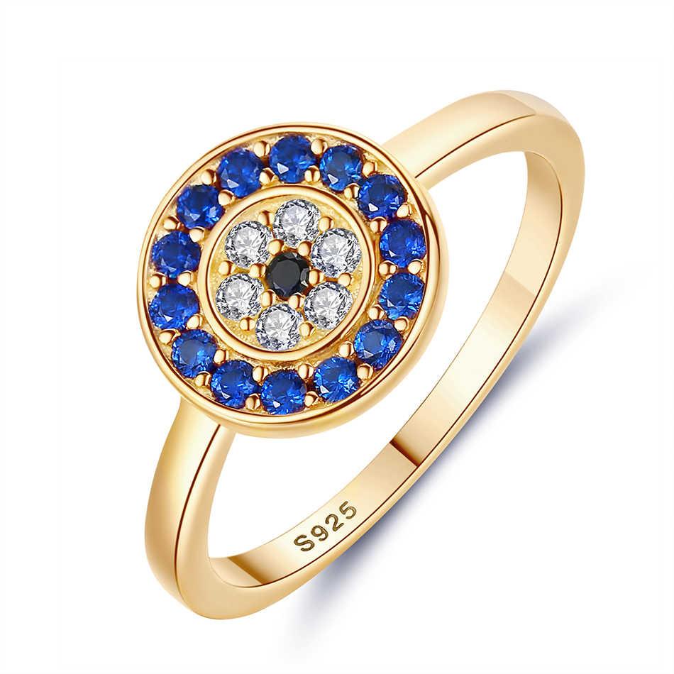 KALETINE แท้ 925 แหวนเงินผู้หญิง Lucky Evil Eye Charm สีฟ้า CZ แหวนทองผู้ชายหมั้นเครื่องประดับ