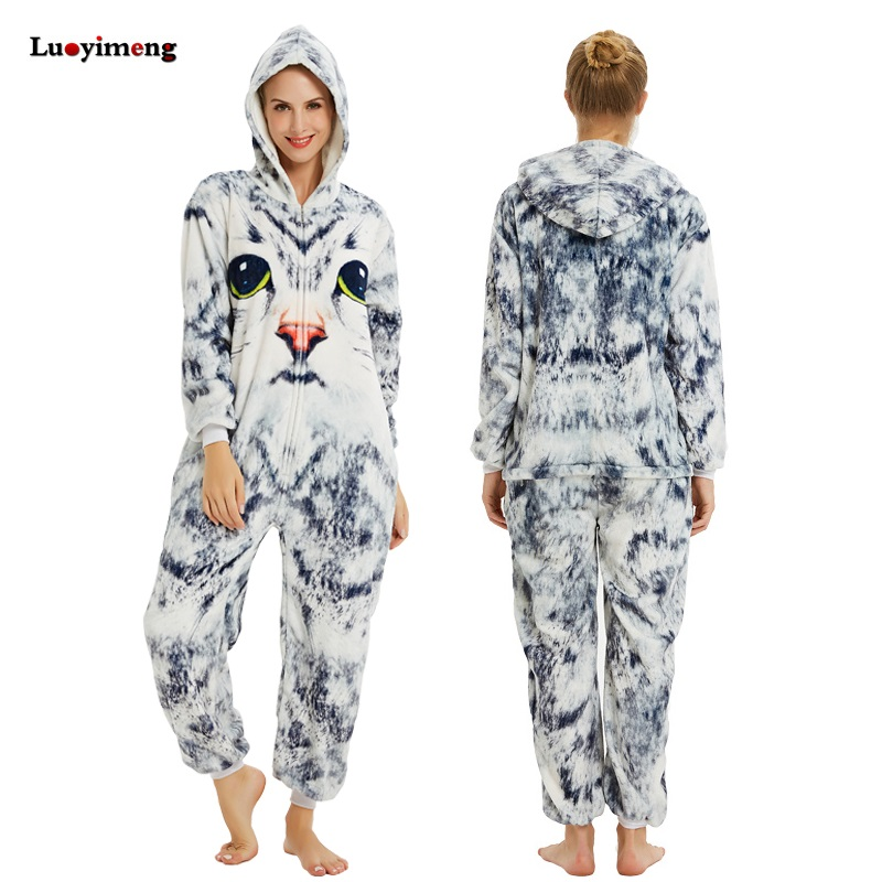 2019 Women Flannel Pajamas Sleepwear Pijama Unicornio 3D Cat Kigurumi Night Clothes Unisex Adult Flannel Pyjamas Mujer Homewear