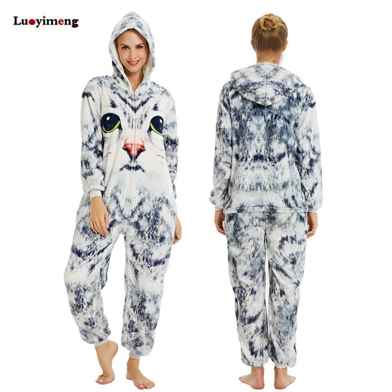 Women Flannel Pajamas Sleepwear Pijama Unicornio 3D Cat Kigurumi Night Onesies Unisex Adult Flannel Pyjamas Mujer Home Clothing
