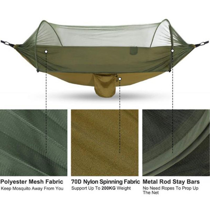 1-2 Person Portable Outdoor Hammock with Mosquito Net Parachute Camping Hanging Sleeping Bed Swing