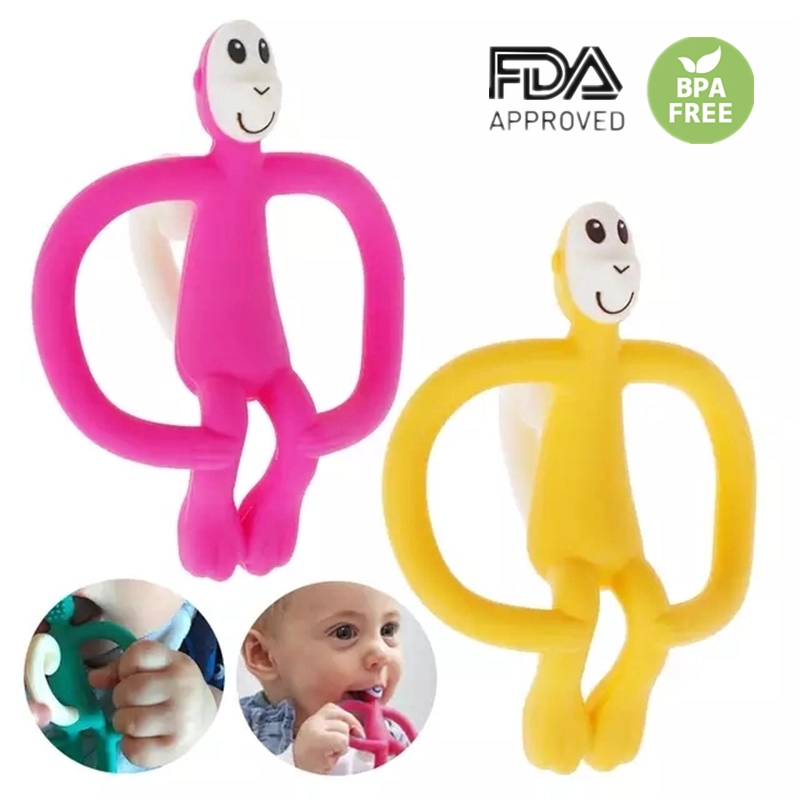 High Quality Silicone Cartoon Monkey Toddler Molar Teeth Pain Relief Tool Kids Teether Necklace Teething Beads Baby Shower Gift