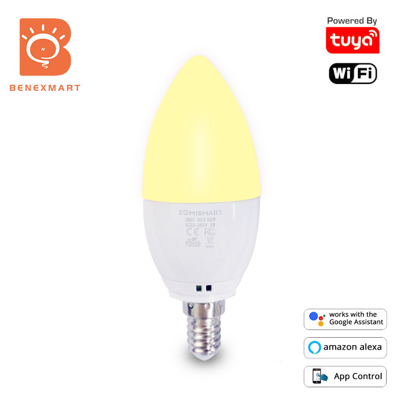 RGBW LED E14 Smart Light Bulb 5W Color Changing Works With Alexa /& Google
