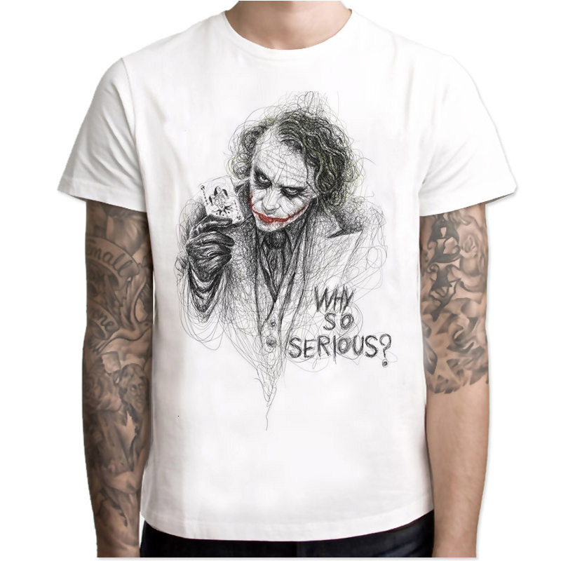 Lus Los 2020 New Men's T-shirt Sketch Clown Print T-shirt Men's Wild Face Casual O-neck Men's T-shirt Joker Short Sleeve Joking
