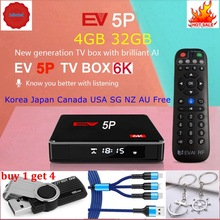 [Genuino] 2021 EV tvbox 5P 6K AI voz dual WIFI Dispositivo de tv inteligente, producto en oferta en Japón, Corea, EE. UU., Canadá NZ AUS Lifetime pk evpad plus